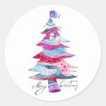 Whimsy Christmas Tree Round Sticker