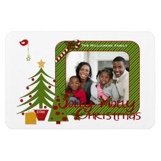 Whimsy Christmas Trees, Bird, Stripes Photo Magnet