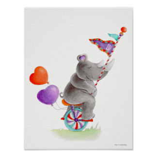Whimsy circus gray rhino on a unicycle nursery poster