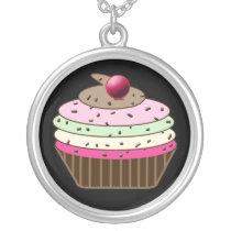 whimsy Cupcake Silver Plated Necklace