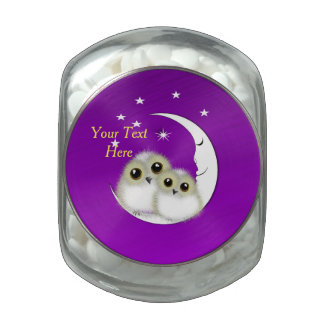 Whimsy Cute Snowy Owls Crescent Moon Personalized Glass Jars