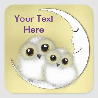 Whimsy Cute Snowy Owls Crescent Moon Personalized Square Sticker