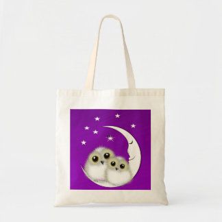 Whimsy Cute Snowy Owls Crescent Moon Personalized Tote Bag