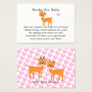 Whimsy Deer Hearts Winter Baby Shower Book Request Business Card