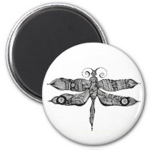 artsprojekt, whimsy, dragonfly, libelula, insect, tatoo, drawing, black, whimsey, teen, ink, body, white, young, Ímã com design gráfico personalizado