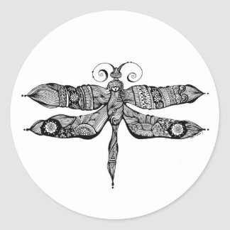 Whimsy Dragonfly Classic Round Sticker