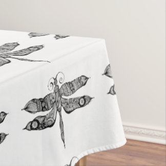 Whimsy Dragonfly Doodle Art Tablecloth