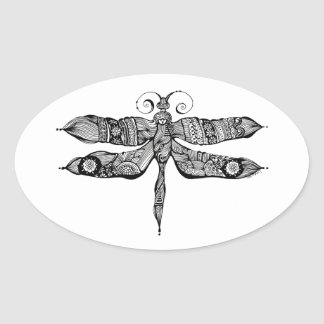 Whimsy Dragonfly Oval Sticker
