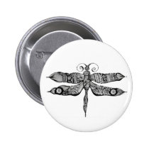 artsprojekt, whimsy, dragonfly, libelula, insect, tatoo, drawing, black, whimsey, teen, ink, body, white, young, Button with custom graphic design