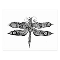 artsprojekt, whimsy, dragonfly, libelula, insect, tatoo, drawing, black, whimsey, teen, ink, body, white, young, Postcard with custom graphic design