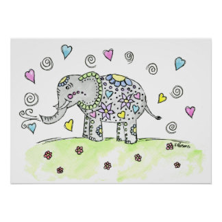 Whimsy Elephant Poster