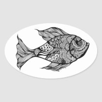 artsprojekt, doodle, drawing, ink, fish, fishing, trout, fly, fisherman, black, white, fishermen, anglers, angling, Sticker with custom graphic design