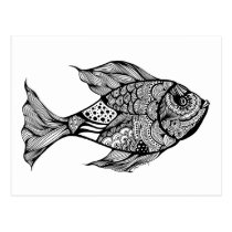 artsprojekt, art, doodle, drawing, ink, fish, fishing, trout, fly, fisherman, black, white, fishermen, anglers, angling, whiskers, Postcard with custom graphic design