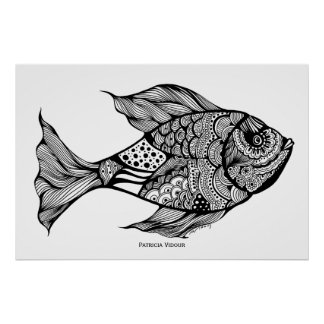 Whimsy Fish Doodle Art Poster