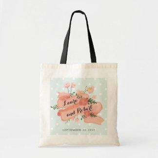 Whimsy Floral Vintage Banner Custom Wedding Budget Tote Bag