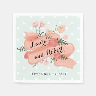 Whimsy Floral Vintage Banner Custom Wedding Disposable Napkins