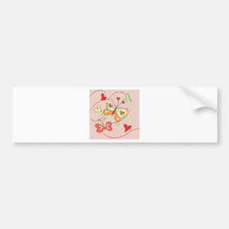 Whimsy Flower Butterflies Bumper Sticker