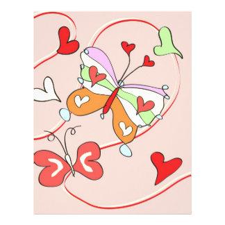 Whimsy Flower Butterflies Custom Letterhead