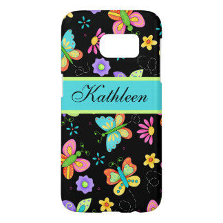 Whimsy Flying Butterflies Black Name Personalized Samsung Galaxy S7 Case