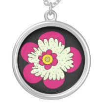 whimsy fun flower silver plated necklace
