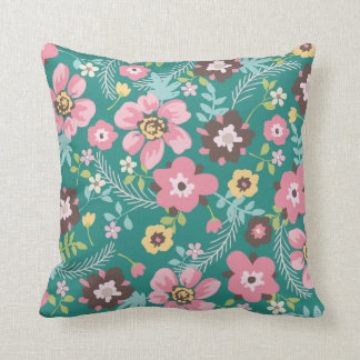 Whimsy Garden Flowers Throw Pillow
