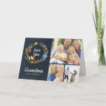 """Whimsy Garden Wreath Birthday Photo Card<br><div class=""""desc"""">Affordable custom printed birthday greeting card personalized with your photos and text. This happy colorful design features a watercolor floral wreath with Love You text. Add 3 custom photos and personalize the Happy Birthday greeting for grandma, mom or any special mother figure. Use the design tools to change the fonts...</div>"""