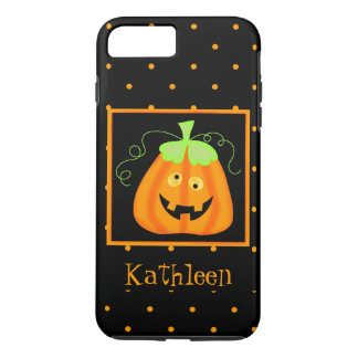 Whimsy Halloween Pumpkin Black Name Personalized iPhone 7 Plus Case