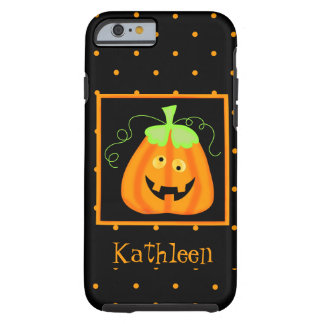 Whimsy Halloween Pumpkin Black Name Personalized Tough iPhone 6 Case