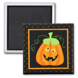 Whimsy Halloween Pumpkin on Black 2 Inch Square Magnet