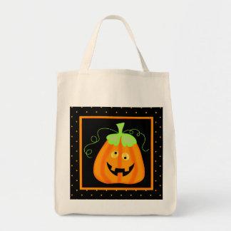 Whimsy Halloween Pumpkin on Black Grocery Tote Bag