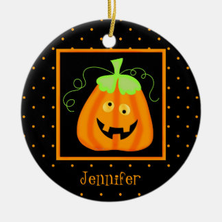 Whimsy Halloween Pumpkin on Black Ceramic Ornament