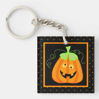 Whimsy Halloween Pumpkin on Black Square Acrylic Keychains