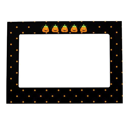 Whimsy Halloween Pumpkin on Black Magnetic Frames