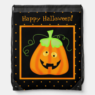 Whimsy Halloween Pumpkin on Black Drawstring Backpack