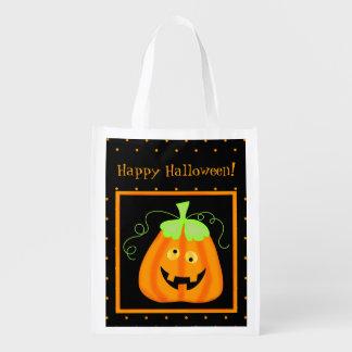 Whimsy Halloween Pumpkin on Black Market Totes