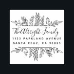 """Whimsy Hand-drawn Leaves Family Return Address Self-inking Stamp<br><div class=""""desc"""">Custom botanical return address rubber stamp featuring whimsy hand-drawn leaves framing a chic script font and modern sans-serif typeface. Click on """"Personalize this template"""" and add your family name and return address details and take home the perfect design for you! Stand out when you send out your mail! Available with...</div>"""