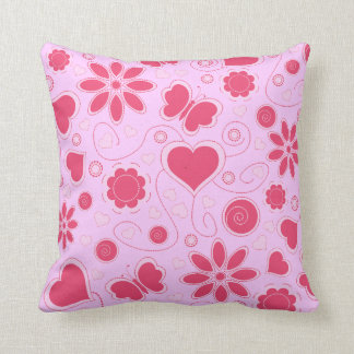 Whimsy Hearts and Flowers Throw Pillow