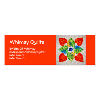 Whimsy Hearts Quilt - Block #1 Double-Sided Mini Business Cards (Pack Of 20)