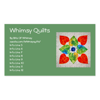 Whimsy Hearts Quilt - Block #1 Double-Sided Standard Business Cards (Pack Of 100)