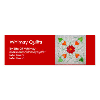 Whimsy Hearts Quilt - Block #2 Double-Sided Mini Business Cards (Pack Of 20)