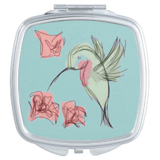 Whimsy Hummingbird (blue background) Mirror For Makeup