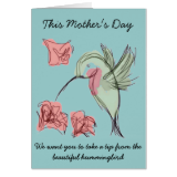 Whimsy Hummingbird Mother's Day Design Greeting Card