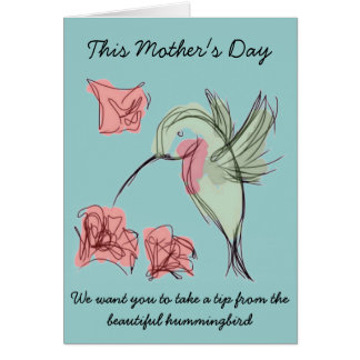 Whimsy Hummingbird Mother's Day Design Greeting Cards
