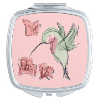 Whimsy Hummingbird (pink background) Compact Mirror