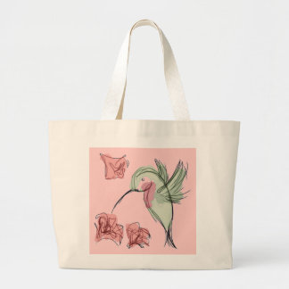 Whimsy Hummingbird (pink) Tote Bags