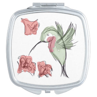 Whimsy Hummingbird (white background) Compact Mirror