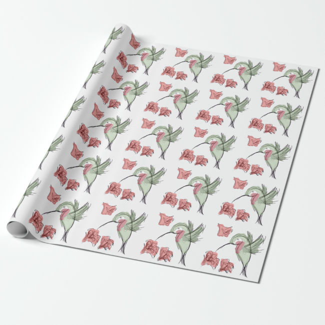 Whimsy Hummingbird (white) Wrapping Paper