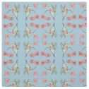 Whimsy Hummingbird With Flowers, Mirrored Blue Fabric