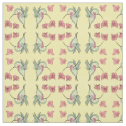 Whimsy Hummingbird With Flowers, Mirrored Yellow Fabric
