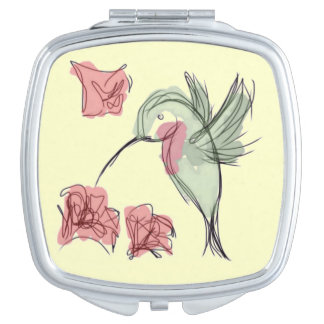 Whimsy Hummingbird (yellow background) Compact Mirrors